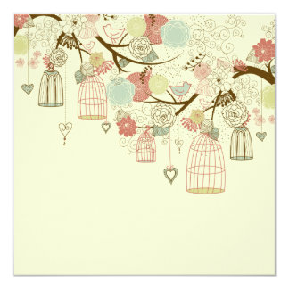 Romantic Roses, birds, birdcages, Floral Vintage 13 Cm X 13 Cm Square Invitation Card