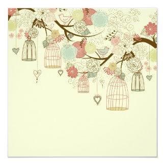 Romantic Roses, birds, birdcages, Floral Vintage 5.25x5.25 Square Paper Invitation Card