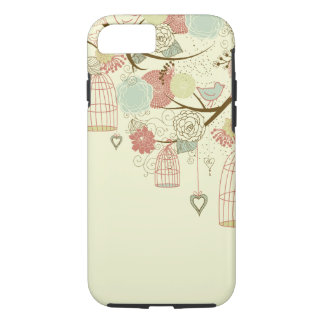 Romantic Roses, birds, birdcages, Floral Vintage iPhone 7 Case