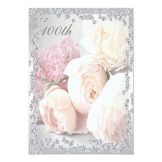 Romantic Roses & Diamonds 100th Birthday Party Card