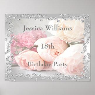 Romantic Roses & Diamonds 18th Poster