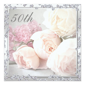 Romantic Roses & Diamonds 50th Birthday Party 13 Cm X 13 Cm Square Invitation Card