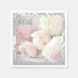 Romantic Roses & Diamonds 80th Birthday Serviettes Disposable Serviettes