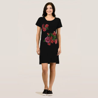 Romantic Roses on Black Dress