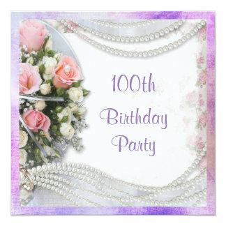 Romantic Roses & Pearls 100th Birthday Party 13 Cm X 13 Cm Square Invitation Card