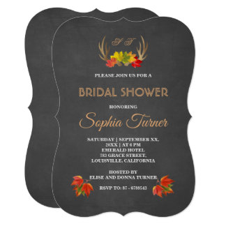 Romantic Rustic Antlers Fall Bridal Shower Invite