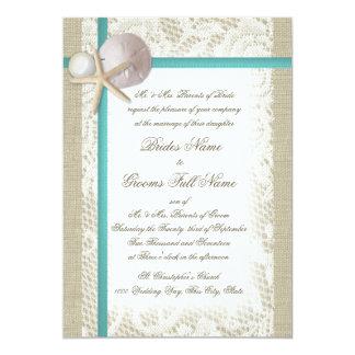 Romantic Rustic Beach and Pearl Aqua Card