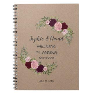 Romantic, Rustic Marsala Floral Wedding Planner Notebook