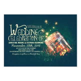 Romantic rustic mason jar & fireflies wedding 13 cm x 18 cm invitation card