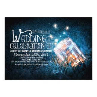 Romantic rustic mason jar & fireflies wedding card