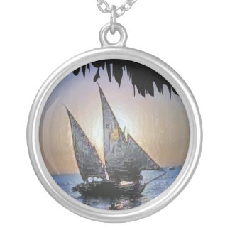 Romantic Sails at Sunset Silver Plated Necklace