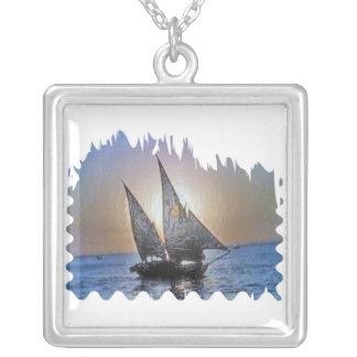 Romantic Sails at Sunset Square Pendant Necklace