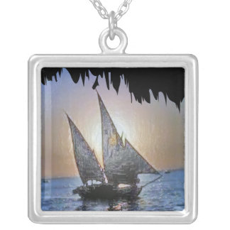 Romantic Sails at Sunset Square Pendant Necklace