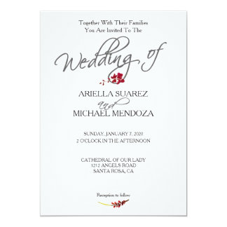Romantic Scarlet Red Floral Wedding Invitation