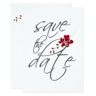 Romantic Scarlet Red Leaf Save The Date Wedding Card