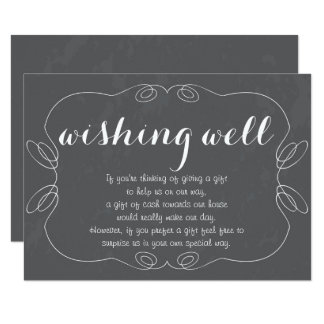 Romantic Script Chalkboard Wishing Well Cards
