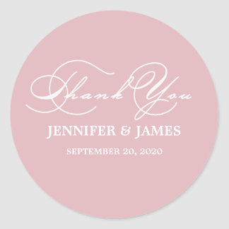 Romantic Script Thank You Wedding Favor Label Round Sticker