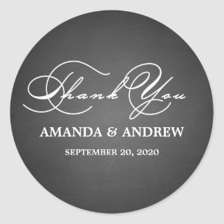 Romantic Script Thank You Wedding Favor Labels Round Sticker