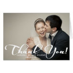 Romantic Script Wedding Photo Thank You Card