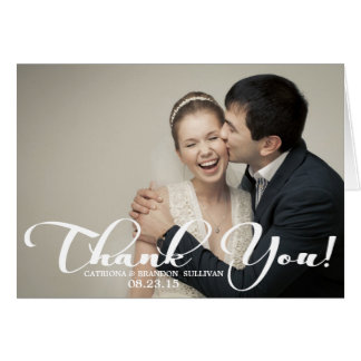 Romantic Script Wedding Photo Thank You Card