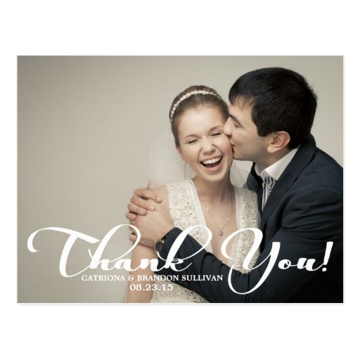 Romantic Script Wedding Photo Thank You Postcard