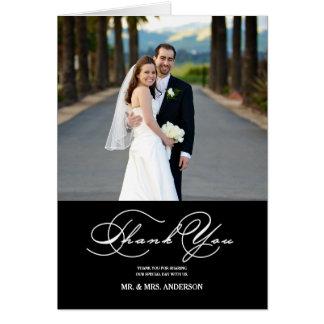 ROMANTIC SCRIPT WEDDING THANK YOU PHOTO NOTE CARD