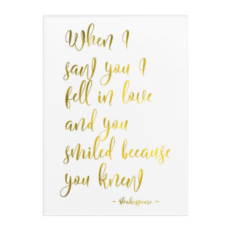 Romantic Shakespeare Love Quote in Gold Gift Acrylic Wall Art