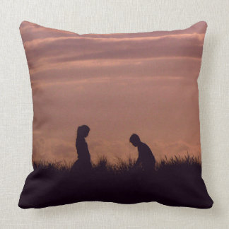Romantic Silhouette Young People Sunset Photo Cushion