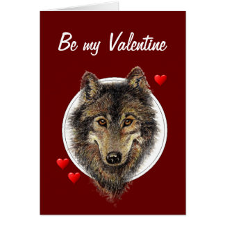 Romantic Silly Watercolor Wolf Valentine Card