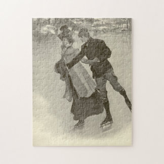 Romantic Skaters - Vintage Jigsaw Puzzle