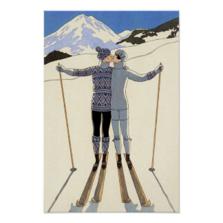 Romantic Skiing Couple Poster