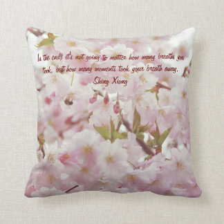 Romantic Soft Tones Cherry Blossoms and Bee Cushion