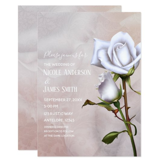 Romantic Soft White Roses Elegant Floral Wedding Card