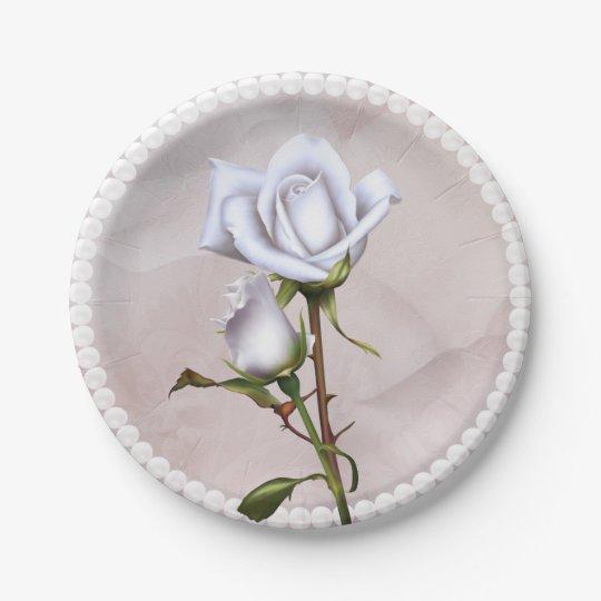 Romantic Soft White Roses Elegant Floral Wedding Paper Plate
