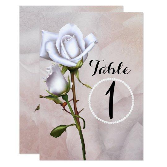 Romantic Soft White Roses Elegant Table Number