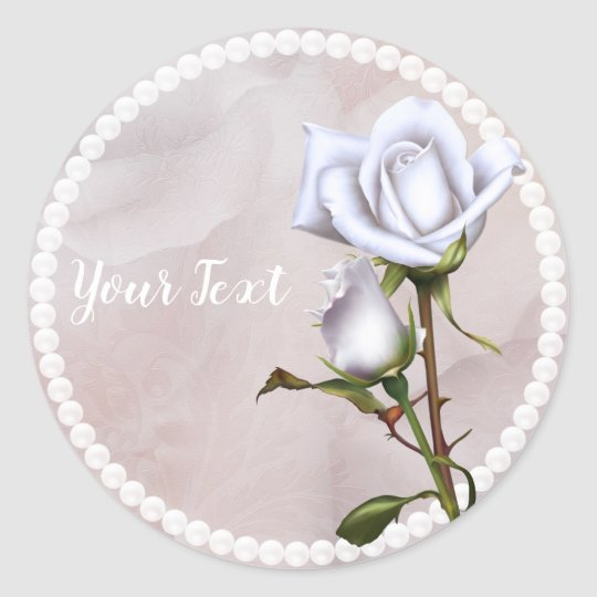 Romantic Soft White Roses Elegant Wedding Favour Classic Round Sticker