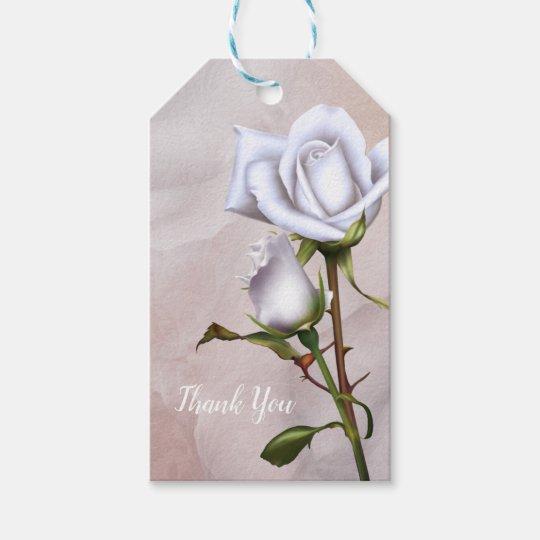 Romantic Soft White Roses Elegant Wedding Favour Gift Tags