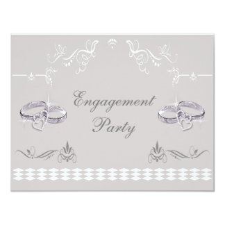 Romantic Sparkly Wedding Bands & Hearts Engagement Card