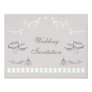 Romantic Sparkly Wedding Bands & Hearts Wedding Card