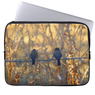 "Romantic sparrow bird couple on a wire, 13"" Photo Computer Sleeve"