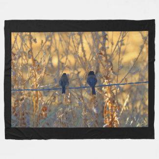 Romantic sparrow bird couple on a wire, Photo Fleece Blanket