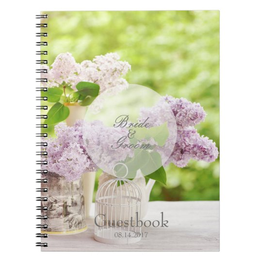 Romantic Spring Flower Floral Lilac guest book Note Book