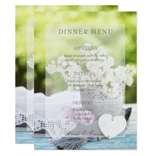 Romantic Spring Flower Floral Lilac Wedding Menu Card