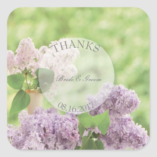 Romantic Spring Flower Floral Lilac Wedding Thanks Square Sticker