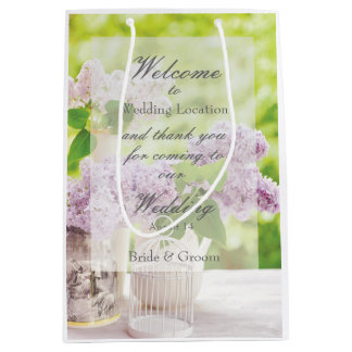 Romantic Spring Flower Floral White Lilac Wedding Medium Gift Bag