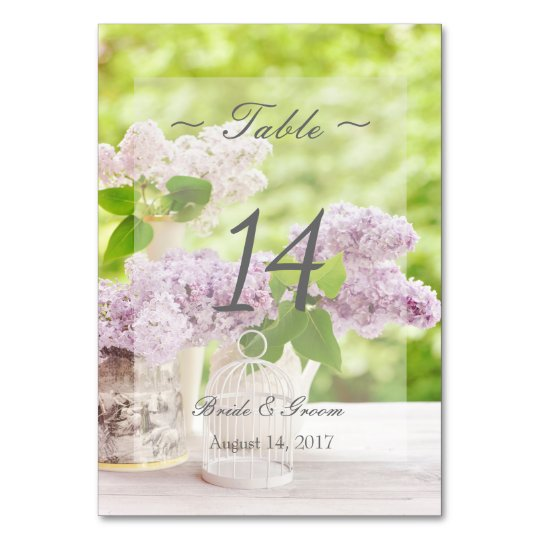 Romantic Spring Flower Lilac Wedding Table Number Table Card