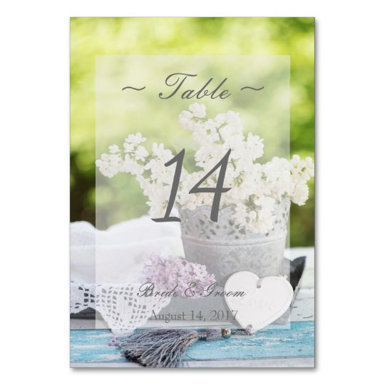 Romantic Spring Flower Lilac Wedding Table Number Table Cards