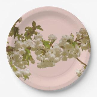 Romantic Spring Summer Cherry Blossom Wedding Paper Plate