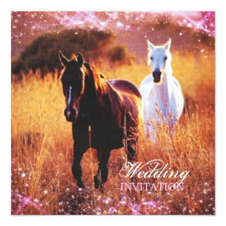 romantic stardust horses western country wedding card