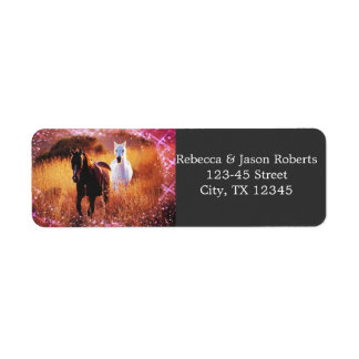 romantic stardust horses western country wedding return address label